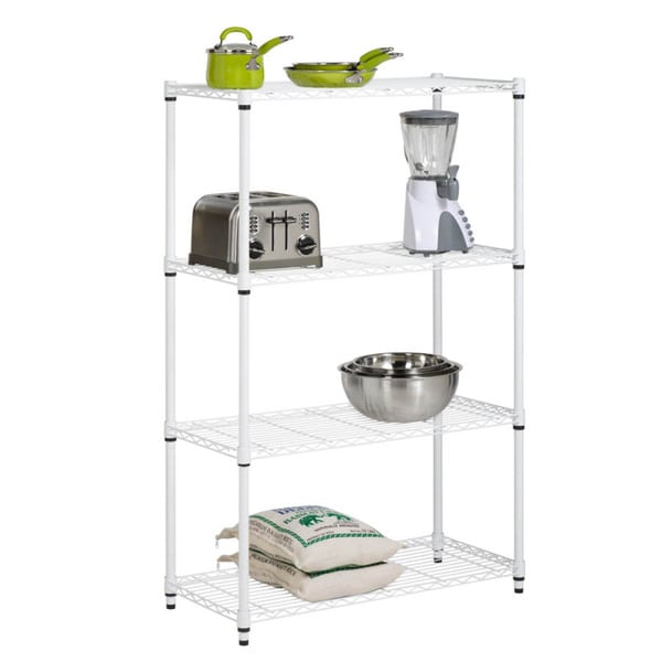 4-tier white shelving unit - 250 lbs