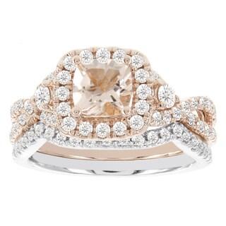 H Star 14k Rose/ Whtie Gold 1/2ct TDW Diamond and 7/8ct Morganite Bridal Set (I-J, I2-I3)