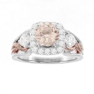 H Star 14k White/ Rose Gold 1 1/7ct Morganite Center and 3/4ct TDW Diamond Engagement Ring (I-J, I2-I3)