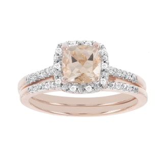H Star 14k Rose Gold 7/8ct Morganite Center and 1/8ct TDW Diamond Wedding Set (I-J, I2-I3)