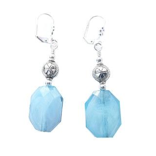 "Palmtree Gems ""Phoebe"" Aqua Faceted Oval Dangle Earrings"