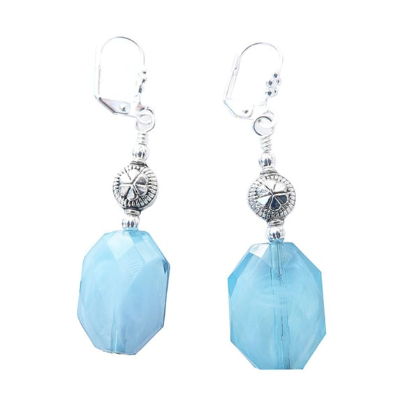 "Palmtree Gems ""Phoebe"" Aqua Faceted Oval Dangle Earrings 16730917"