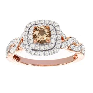 H Star 14k Rose Gold 1/2ct Morganite Center and 3/8ct TDW Diamond Engagement Ring (I-J, I2-I3)