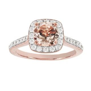 H Star 14k Rose Gold 1ct Morganite Center and 5/8ct TDW Diamond Engagement Ring (I-J, I2-I3)