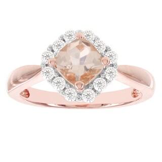 H Star 14k Rose Gold 1ct Morganite Center and 3/8ct TDW Diamond Engagement Ring (I-J, I2-I3)