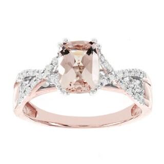 H Star 14k Rose Gold 1 1/7ct Morganite Center and 1/3ct TDW Diamond Engagement Ring (I-J, I2-I3)