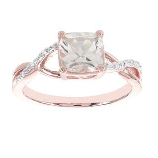H Star 14k Rose Gold 1 1/3ct Morganite Center and Diamond Accent Ring (I-J, I2-I3)