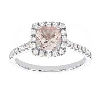 H Star 14k White Gold 1ct Morganite Center and 1/3ct TDW Diamond Halo Engagement Ring (I-J, I2-I3)
