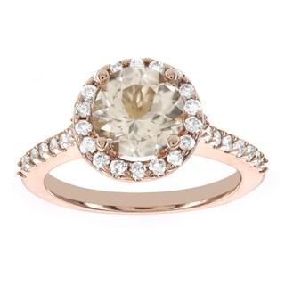 H Star 14k Rose Gold 1 1/7ct Morganite Center and 1/2ct TDW Diamond Halo Engagement Ring (I-J, I2-I3)