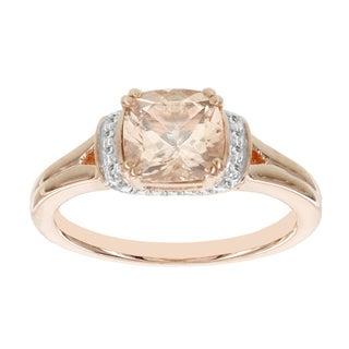 H Star 14k Rose Gold 1 1/3ct Morganite Center and 1/8ct TDW Diamond Ring (I-J, I2-I3)