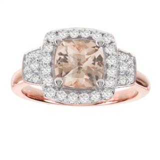 H Star 14k Rose Gold 1 1/3ct Morganite Center and 3/8ct TDW Diamond Ring (I-J, I2-I3)