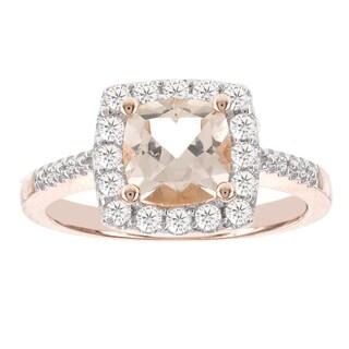H Star 14k Rose Gold 3/8ct TDW Diamond and 1 1/3 ct Morganite Ring (I-J, I2-I3)