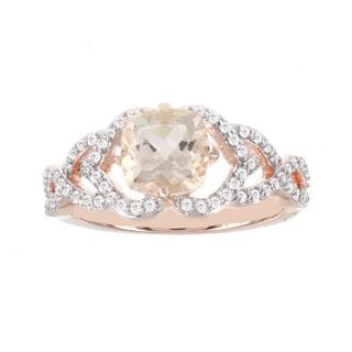 H Star 14k Rose Gold 1/3ct TDW Diamond and 1 1/4ct Morganite Ring (I-J, I2-I3)