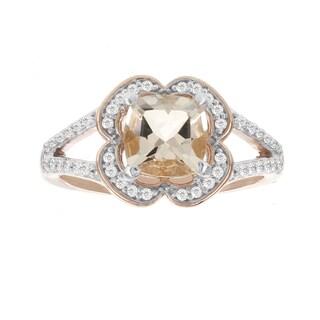 H Star 14k Rose Gold 1/5ct Diamond and 1 1/3ct Morganite Ring (I-J, I2-I3)