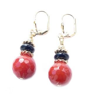 Palmtree Gems 'Freida' Glass and Black Agate Dangle Earrings