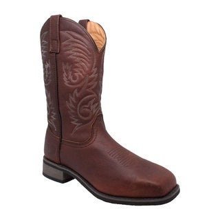 Men's 11-inch Steel Square Toe Western Pull-on Brown Boots