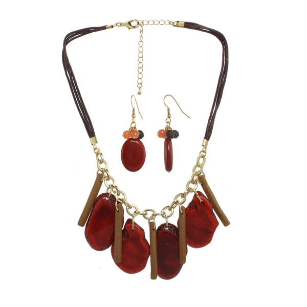 Alexa Starr Coral & Brown Stone Statement Necklace and Earrings Set