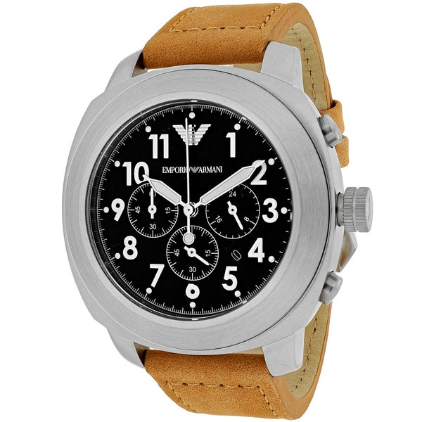 Emporio Armani Men's AR6060 'Sportivo' Chronograph Brown Leather Watch