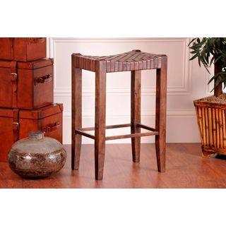 Solid Wood X Back Microfiber Seat Bar Stool 11445869