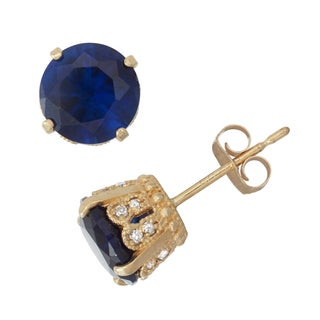 Gioelli 10k Yellow Gold Created Sapphire 1/6ct TDW Diamond Crown Stud Earrings (H-I/I1-I2)