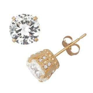 Gioelli 10k Yellow Gold Created White Sapphire 1/6ct TDW Crown Diamond Stud Earrings (H-I/I1-I2