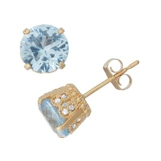 Gioelli 10k Yellow Gold Created Aquamarine 1/6ct TDW Crown Diamond Stud Earrings (H-I/I1-I2)