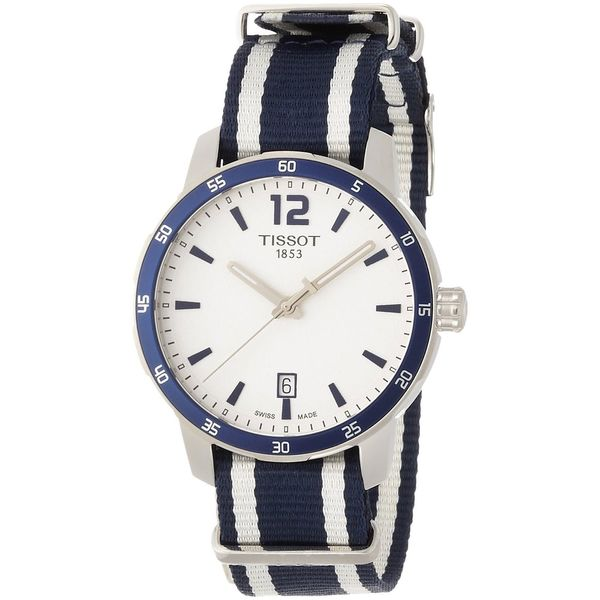 Tissot Men's T0954101703701 'Quickster Nato' Extra Bands Blue and white Nylon Watch 16731557