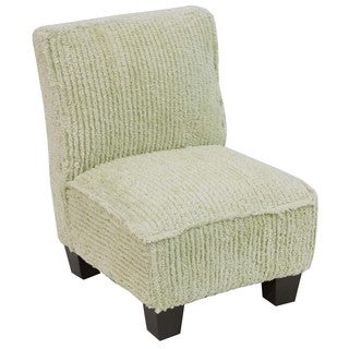 Skyline Furniture Kids Slipper Chair in Minky Stripe Green