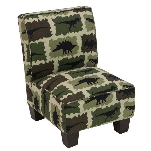 Skyline Furniture Kids Slipper Chair in Rex Camo Green