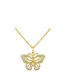 10k Yellow Gold Butterfly Charm Pendant