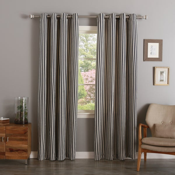 Aurora Home Vertical Stripe Cotton Silver Grommet Top Curtain