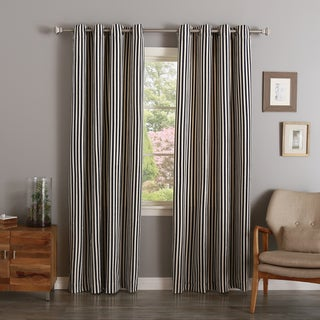 Aurora Home Vertical Stripe Cotton Silver Grommet Top Curtain