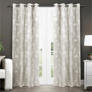 Bangalore Paisley Thermal Insulated Grommet Top Window 84-Inch Curtain Panel Pair