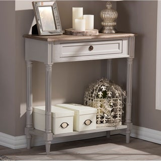 Baxton Studio Edouard French Provincial Style White Wash Distressed Two-tone 1-Drawer Console Table