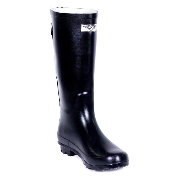 Women's Full Rubber Black Rain Boots Rear Decorative Zipper Design (As Is Item)