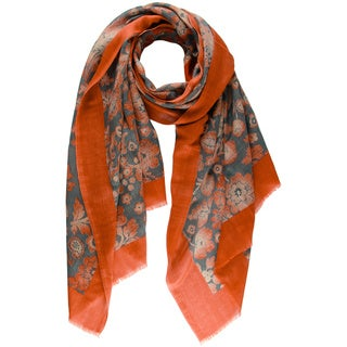 Saachi Women's Regal Floral Boarder Wool Scarf (India)