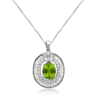 MONTEBELLO JEWELRY 18k White Gold 3 1/3ct TDW Peridot and Diamond One-of-a-kind Oval-cut Pendant (H-I, VS1-VS2)