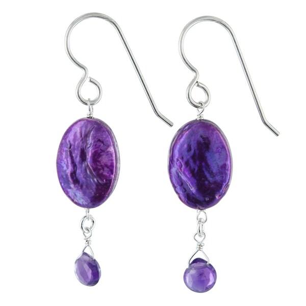 Ashanti Purple Coin Pearl and Amethyst Gemstone Sterling Silver Handmade Earrings