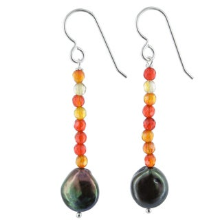 Ashanti Bronze Coin Pearl and Orange Agate Gemstone Sterling Silver Handmade Earrings