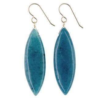 Ashanti Teal Jade Gemstone 14K GF Handmade Earrings