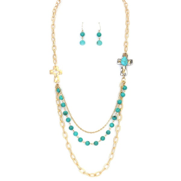 28-inch Multi-strand Layered Metal Turquoise and Glass Bead Cross Necklace Set 16732350