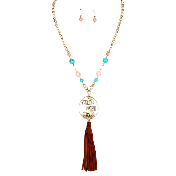 28-inch Faith Hope Love Pendant Tassel Necklace and Earrings Set