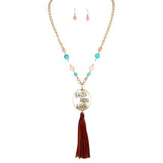 28-inch Faith Hope Love Pendant Tassel Necklace and Earrings Set