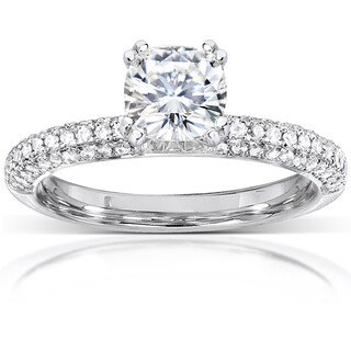 Annello 14k Gold Forever One Moissanite and 1/4ct TDW Diamond Micro Pave Ring (G-H, I1-I2)