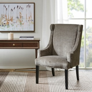 Madison Park Lucy High Back Wing Chair--Dark Grey