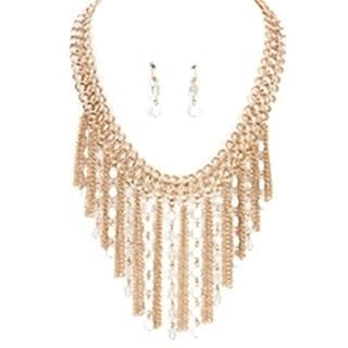 16-inch Gold Chain Fringe Bib Necklace and Earring Set