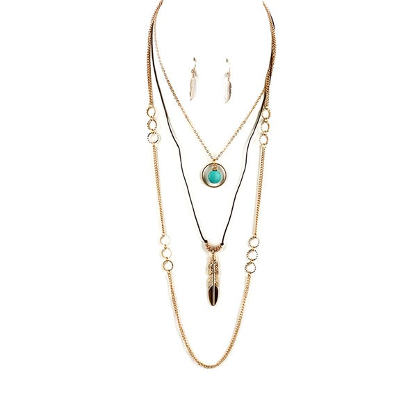 Feather Motif Turquoise Goldtone Layered Necklace Set