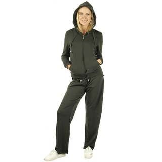 Women's Charcoal Detailed Hood French Terry Track Suit