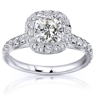 Annello 14k Gold Forever One 1 1/10ct Cushion Moissanite and 2/5ct TDW Diamond Halo Engagement Ring (G-H, I1-I2)
