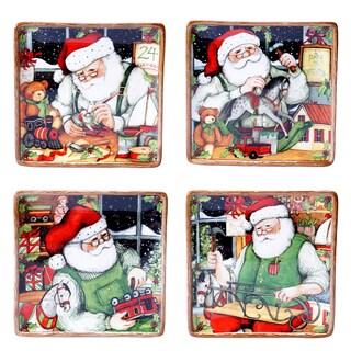 """Certified International - Santa's Workshop 8.25"""" Dessert Plates (Set of 4)"""